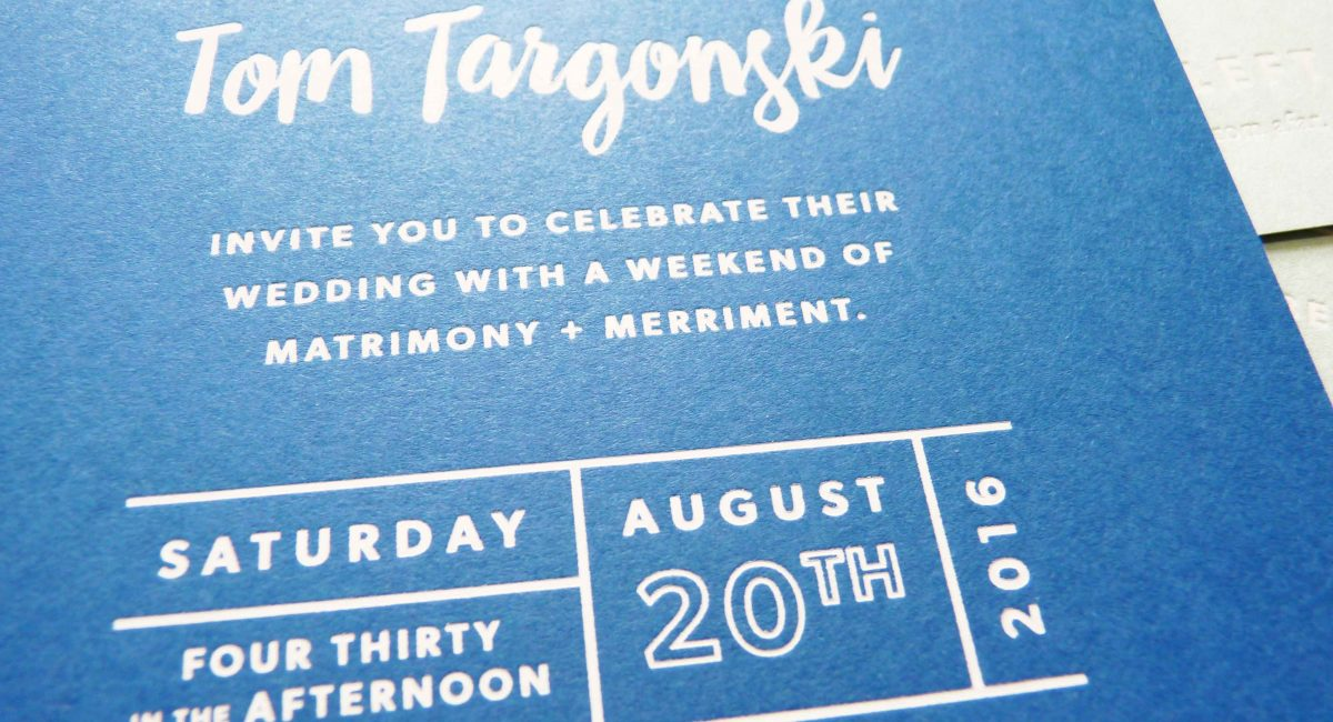 Wedding Invitations, Foil Stamped, Unusual Paper, White Foil, Blue Paper, Wedding Suite, Custom Design, Invitations, Wedding Stationery, Letterpress Printed