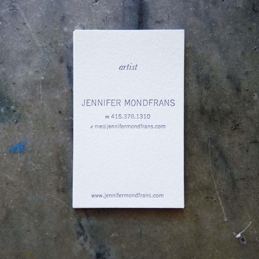 Jennifer Mondfrans Business Card | Paper Story - Dependable Letterpress