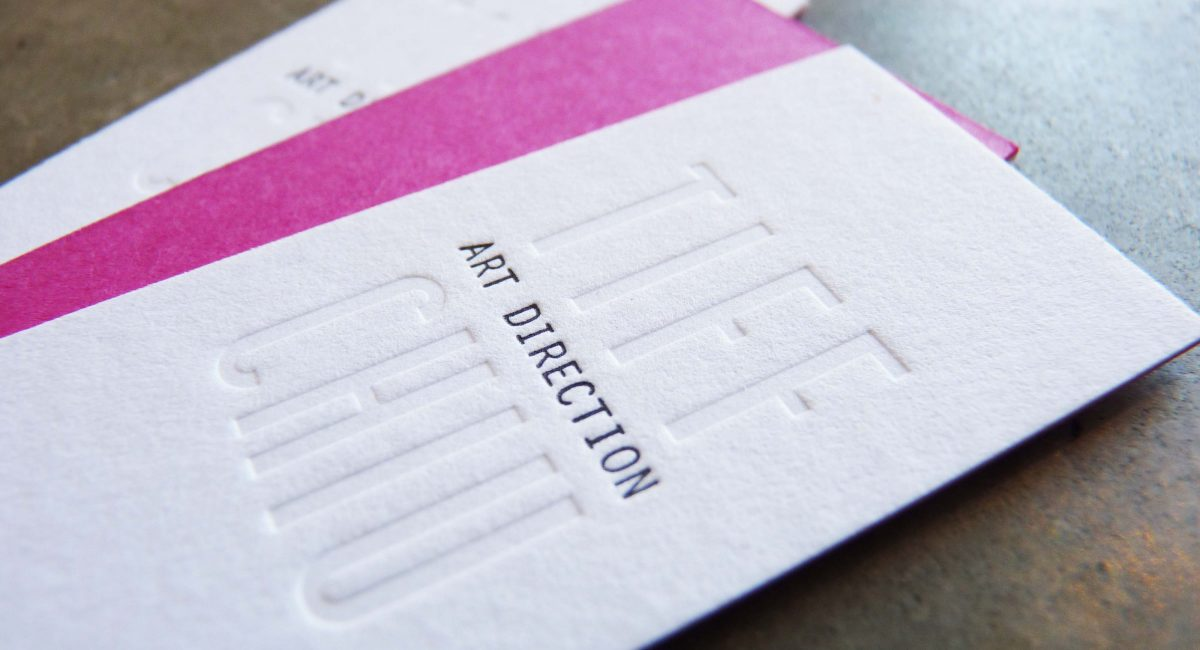 Letterpress Printed, Blind Deboss, Duplex, Pink, Business Card, Odd Size, Unusual Paper, Graphic Design, Custom Design
