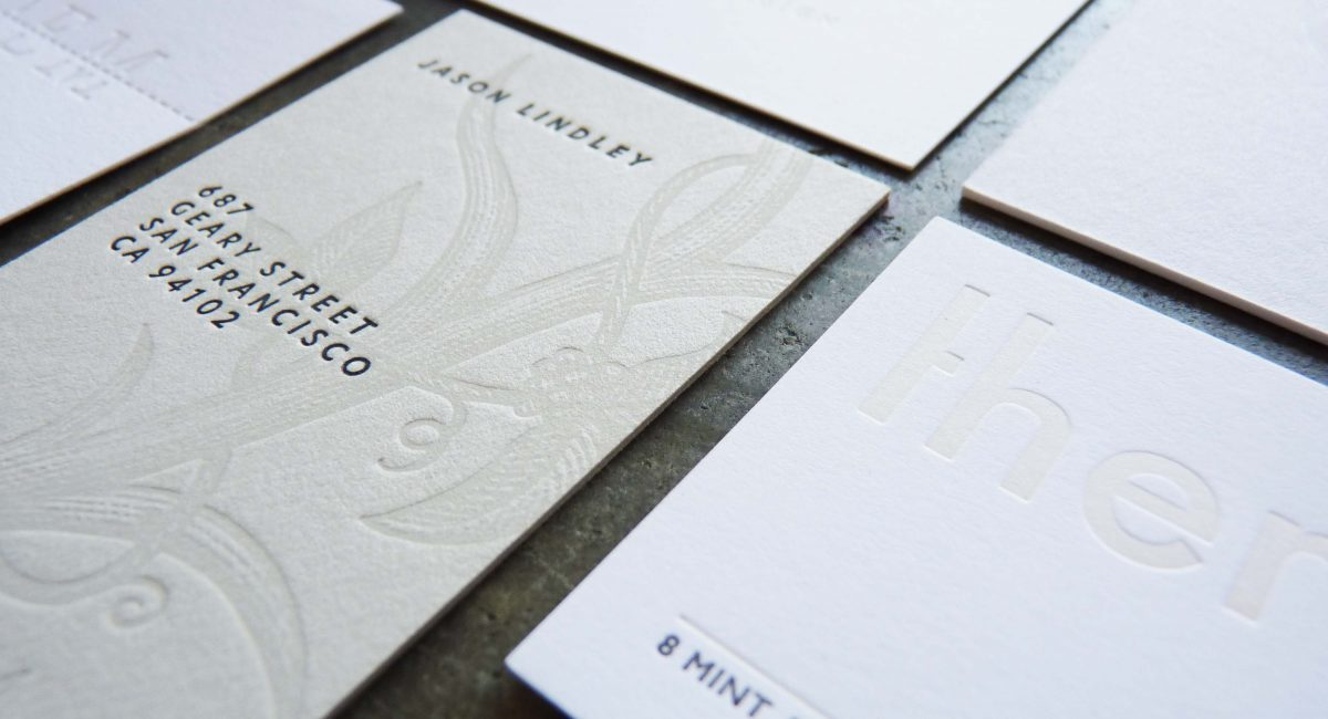 Tint, Blind Deboss, Business Cards, Letterpress Printed, Unusual Paper, Graphic Design, Custom Design