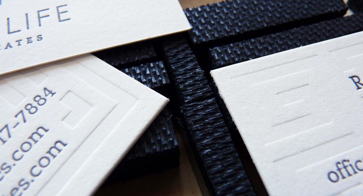 Blind Deboss, Letterpress Printed, Die Cut, Business Card, Graphic Design, Custom Design