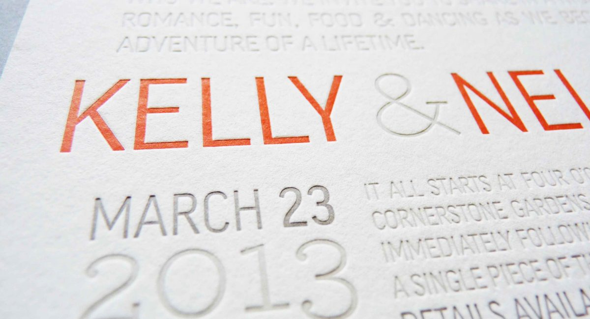 Wedding Invitations, Letterpress Printed, Textured Paper, Wedding Suite, Custom Design, Invitations, Wedding Stationery, Orange, Gray