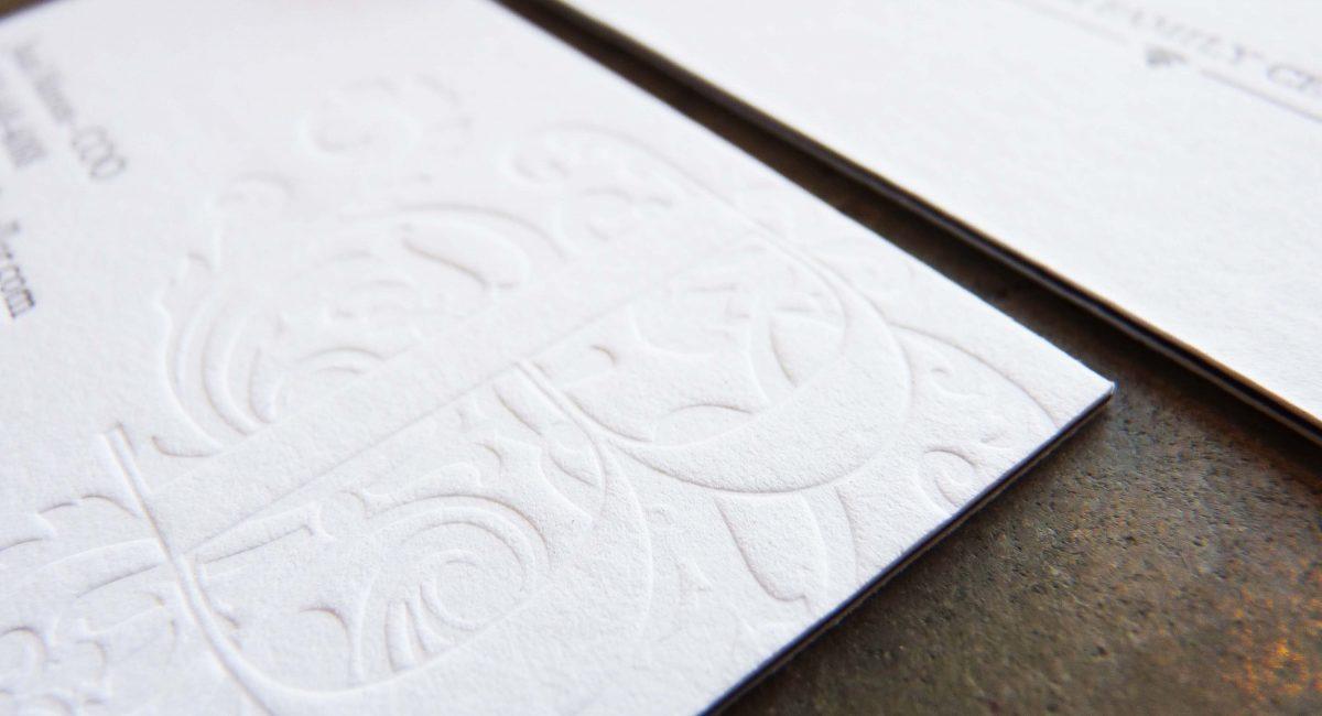 Triplex, Business Cards, Letterpress Printed, Blind Deboss, Emboss, Graphic Design, Custom Design