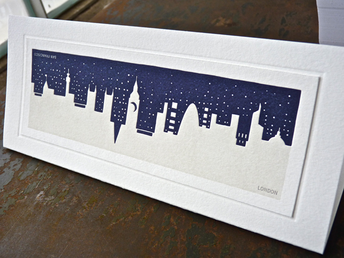 London skyline letterpress card