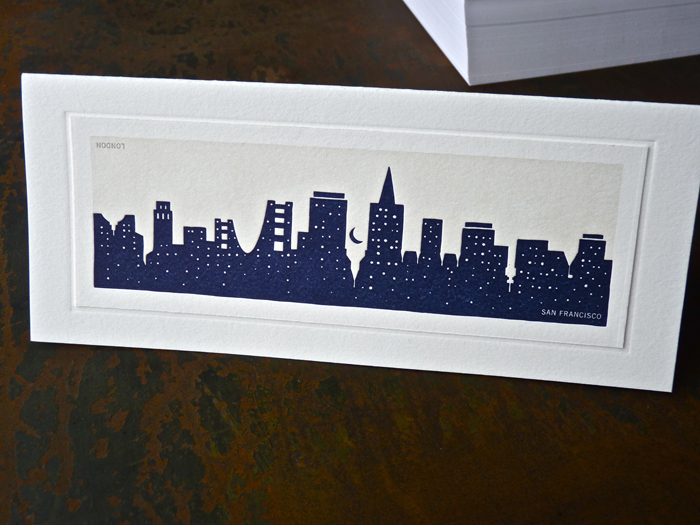 san francisco skyline letterpress card