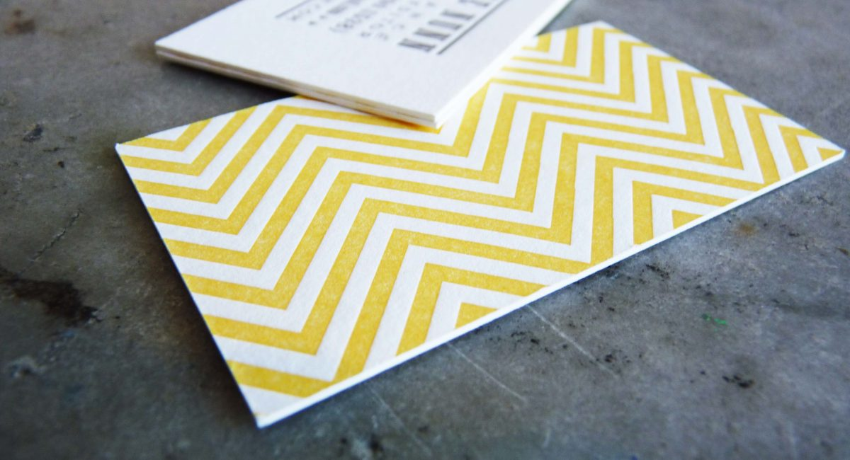 Business Card, Yellow Chevron, Letterpress Printed, Chevron, Yellow, Brown, Graphic Design