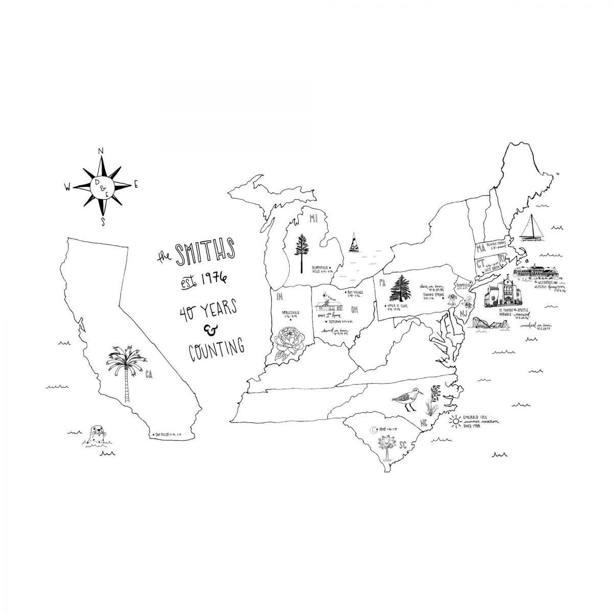 Illustration from the Smith Family's custom letterpress map